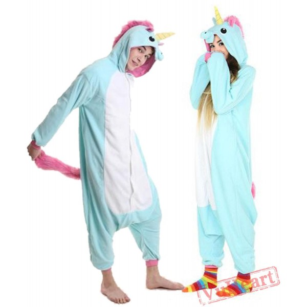 Blue Unicorn Couple Onesies / Pajamas / Costumes