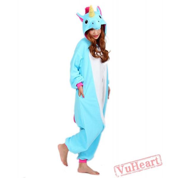 Lake Blue Unicorn Kigurumi Onesies Pajamas Costumes for Women & Men