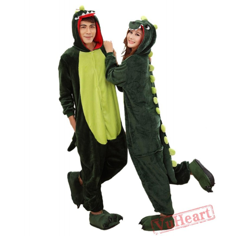 cea79bbd1 Women   Men Green Dinosaur Kigurumi Onesies Pajamas Costumes