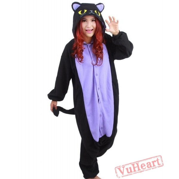 Middle Night Spooky Cat Kigurumi Onesies Pajamas Costumes for Women & Men