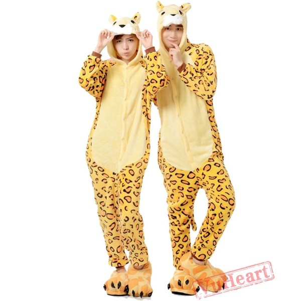 Adult Leopard Tiger Couple Onesies / Pajamas / Costumes