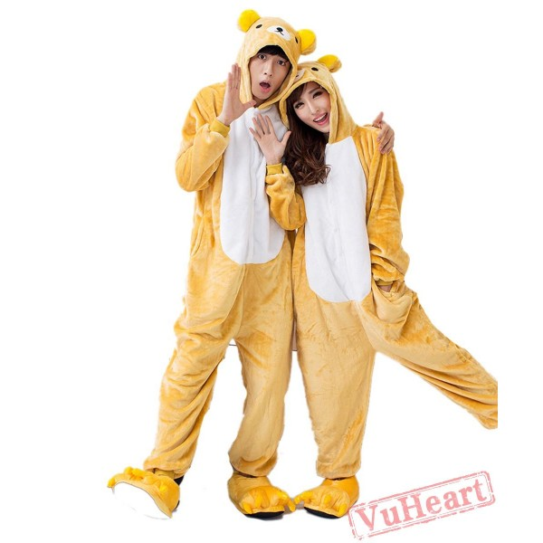 Yellow Bear Kigurumi Onesies Pajamas Costumes for Women & Men