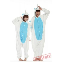 White Blue Unicorn Kigurumi Onesies Pajamas Costumes for Women & Men