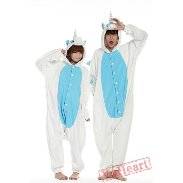White Blue Unicorn Couple Onesies / Pajamas / Costumes