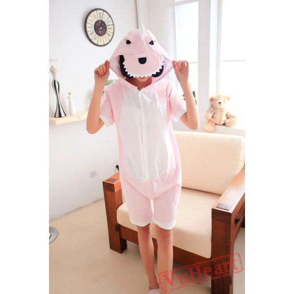 Summer Pink Dinosaur Couple Onesies / Pajamas / Costumes