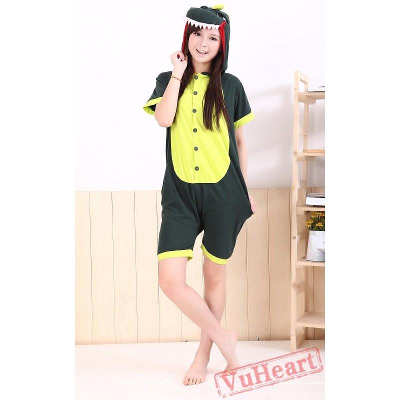 e75d84ab9ebb Summer Green Dinosaur Kigurumi Onesies Pajamas for Women   Men