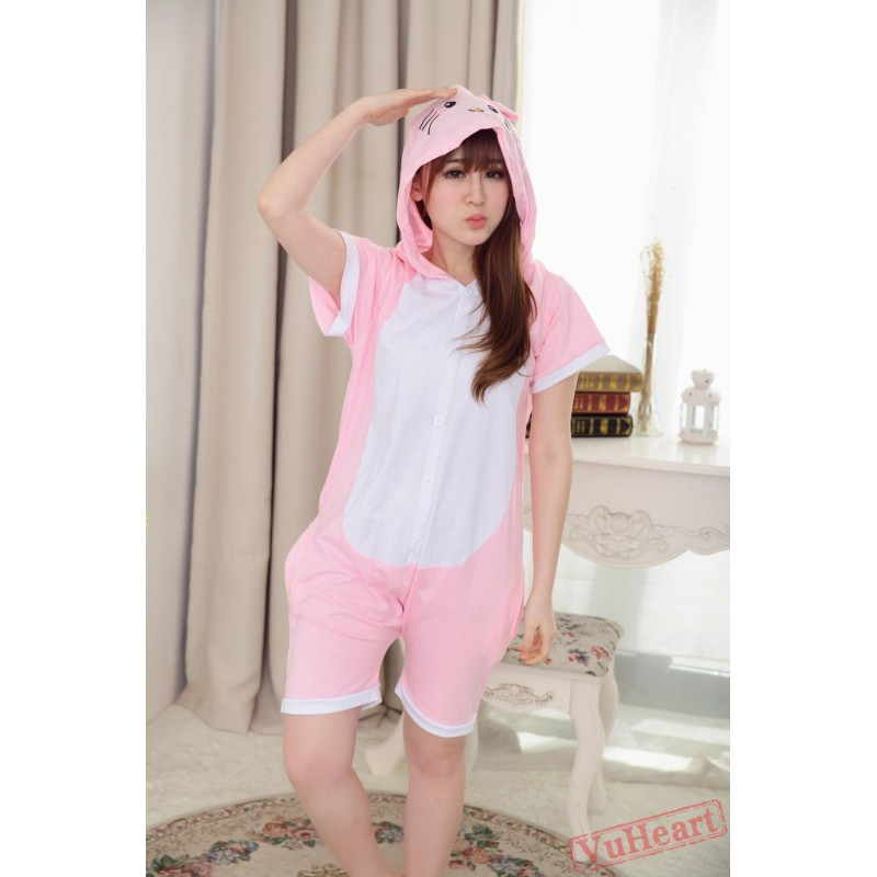 b8d1b4a23b2d Summer Pink Kitty Kigurumi Onesies Pajamas for Women   Men