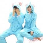Blue Elephant Couple Onesies / Pajamas / Costumes