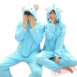 Blue Elephant Couple Onesies / Pajamas / Costumes