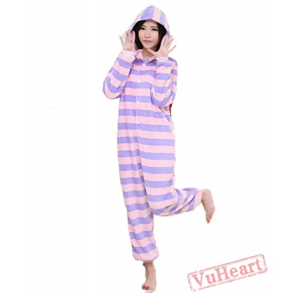 Spring & Autumn Purple Stripes Kigurumi Onesies Pajamas for Women & Men