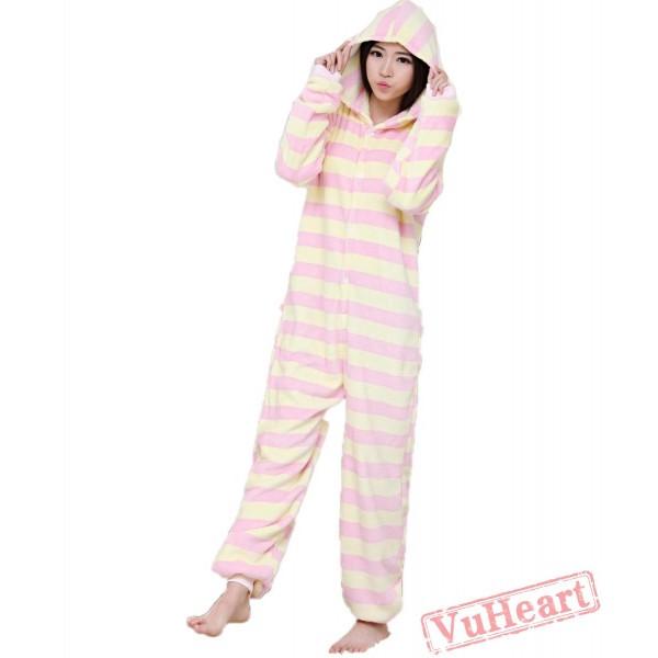 Spring & Autumn Pink Stripes Kigurumi Onesies Pajamas for Women & Men