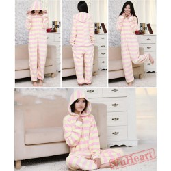 Spring & Autumn Pink Stripes Kigurumi Onesies Pajamas for Women & Men