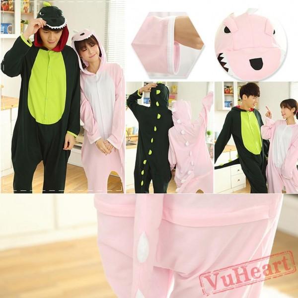 Pink Dinosaur Couple Onesies / Pajamas / Costumes