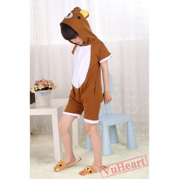 Brown Rilakkuma Bear Summer Kigurumi Onesies Pajamas Costumes for Boys & Girls