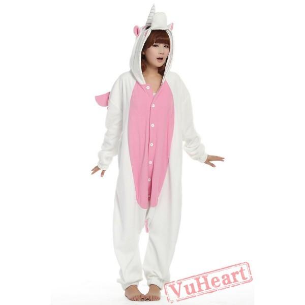 White & Pink Unicorn Kigurumi Onesies Pajamas Costumes for Women & Men
