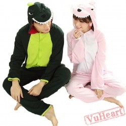 Green Dinosaur Couple Onesies / Pajamas / Costumes