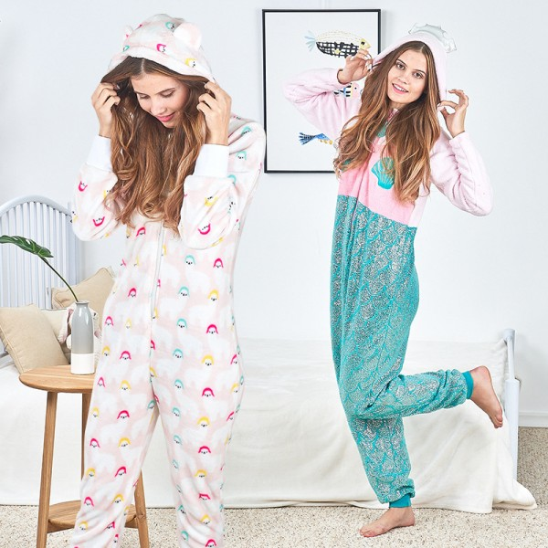 Mermaid Cartoon Adult Onesie Pajamas Costumes