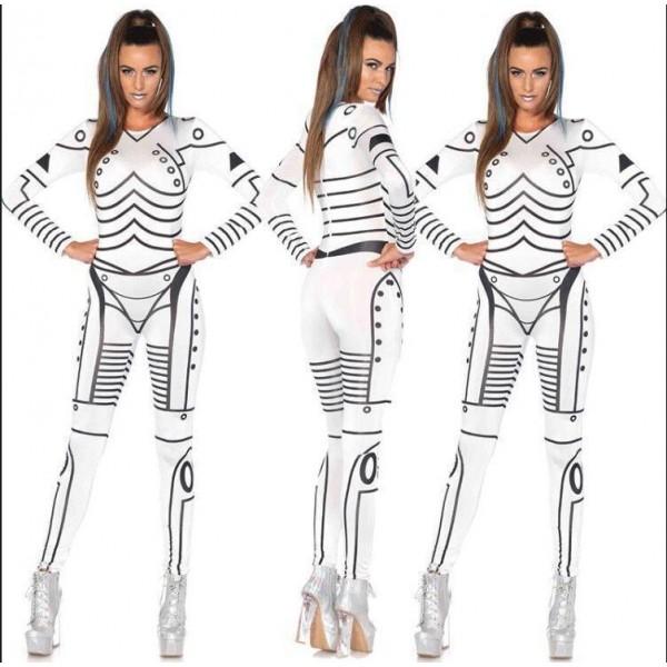 Woman White Skull / Ghost Bride Adult Onesies Club Costumes