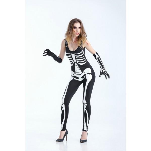 Woman Black Sexy Skeleton Adult Onesies Club Costumes