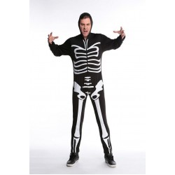 Men Black Skull Adult Onesies Club Costumes