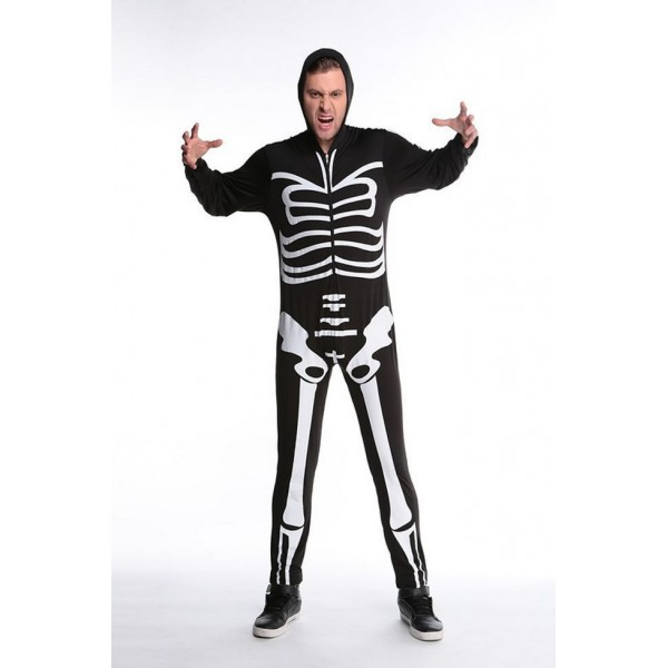 Men Black Skull Adult Onesies Club Costumes