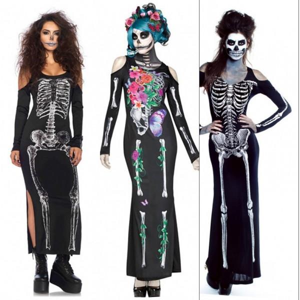 Woman Black Sexy Skeleton / Ghost Bride Adult Onesies Club Costumes