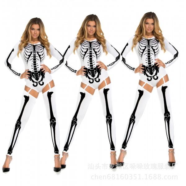 Woman White Sexy Skeleton Adult Onesies Club Costumes