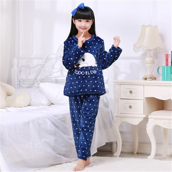 Winter Children Pajamas Warm Sleepwear Girls Loungewear