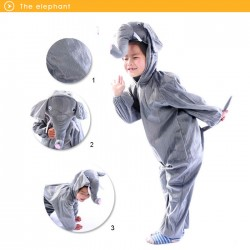 Kids Unisex Children Animal Pajamas Animal Cosplay Costume Onesie Elephant