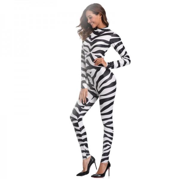 Sexy Black White Striped Zebra onesies Costume Women Costume