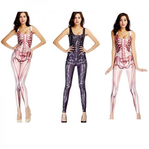 Adult Sexy Women Jumpsuit Sugar Skull Catsuit Costume Onesies