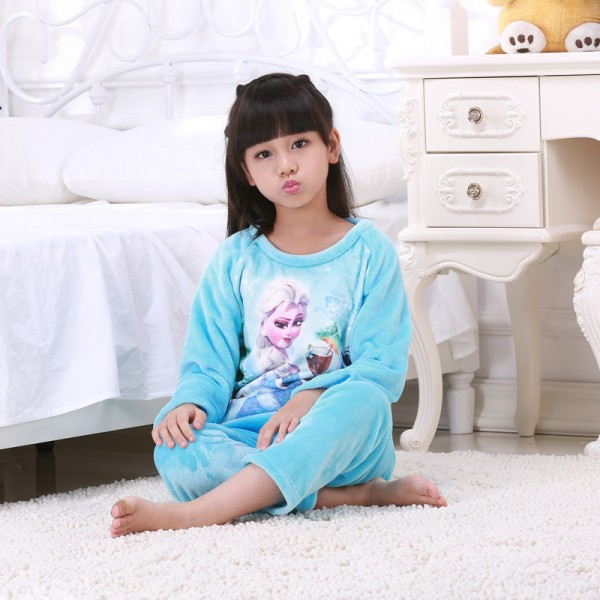 Cartoon Girls Pajama Sets Warm Girls Sleepwear Clothes