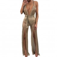 Deep V Neck Sexy Jumpsuit Onesie Women Long Sleeveless