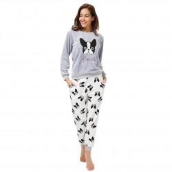 Flannel Pajamas Set Sweatshirt + Pants + Eye Mask