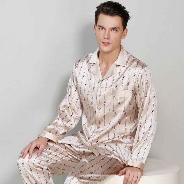 High-Grade Silk Men Printed Long-Sleeve Pajama Sets