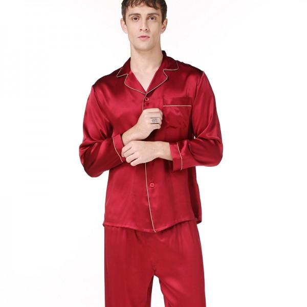 Silk Men Long-Sleeved Pajama Sets
