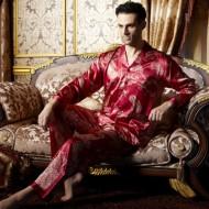 Men's Satin Silk Printed Long-Sleeved Pajama Sets
