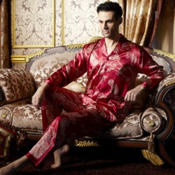 Men's Satin Silk Printed Long-Sleeved Pajama Sets