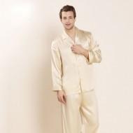 Silk Long Sleeve Mature Men Pajamas Sets