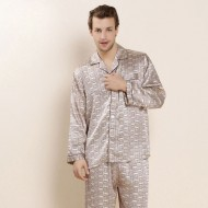 Men Silk Sleepwear Long-sleeve Pajama Set