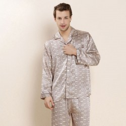 Men Silk Sleepwear Long-sleeve Pajama Set