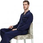 Mens Silk Satin Pajamas Set Sleepwear