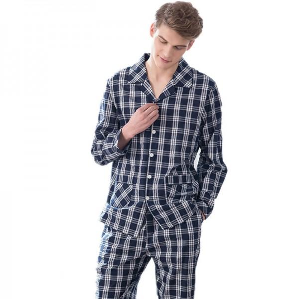 Cotton Plaid Turn-Down Collar Full Length Men Pajamas Sets