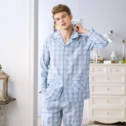 Cotton Plaid Turn-Down Collar Full Length Men Pajamas Sets