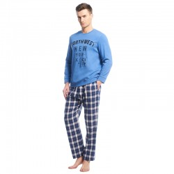 Mens Cotton Long Sleeve Pajama Sets O-neck