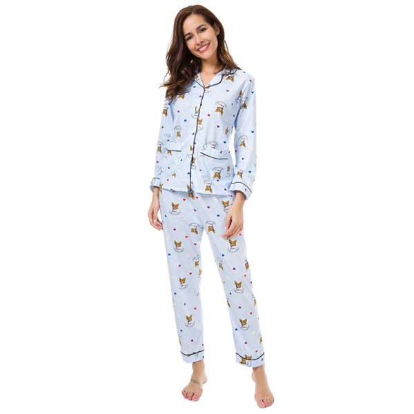 Women Print French Bulldog Long Sleeve Pajamas 2 Pieces Set