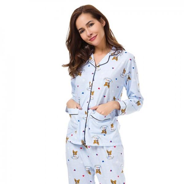 Women Print French Bulldog Long Sleeve Pajamas 2 Pieces Set