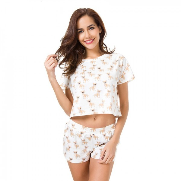 Print Women Pajamas Set Top + Shorts Loose Pajamas