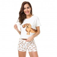 Women's Dachshund Print Dog Pajama Sets Top + Shorts Loose