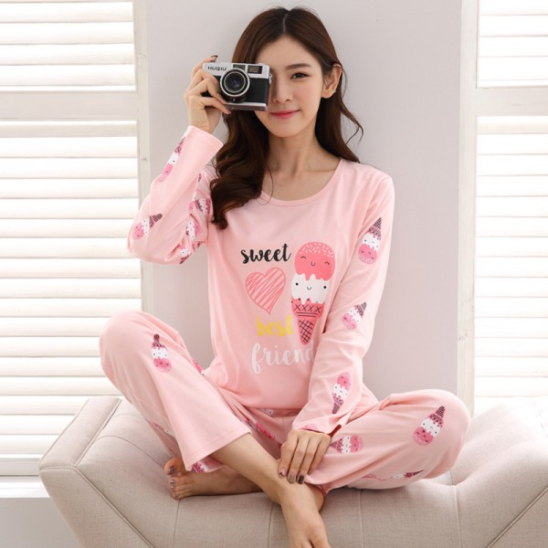 Pink Pajamas for Girls Ice Cream Print Pajama Set Long Sleeve